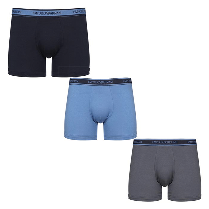 Image of   Emporio Armani 3-Pack Boxers (Marine/Blå/Sort)