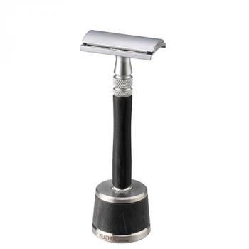 Luxury Feather Wood Safety Razor Including Stand
