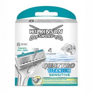 Wilkinson Sword Quattro Titanium Sensitive Barberblade (8-pak)
