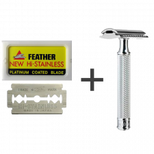 Feather New Hi-Stainless Barberblade (10 stk) + Mühle R-89 DE Safety Razor