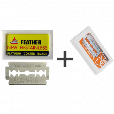 Feather New Hi-Stainless Barberblade (10 stk) + Merkur Platinium Barberblade (10 stk)