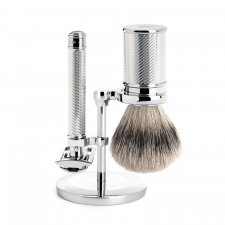Mühle Barbersæt M. DE-skraber, Silvertip Badger + Holder (Sølv) (made4men)