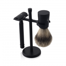 Njord DE Shaving Set (DE Safety Razor, Best Badger Shaving Brush & Holder)