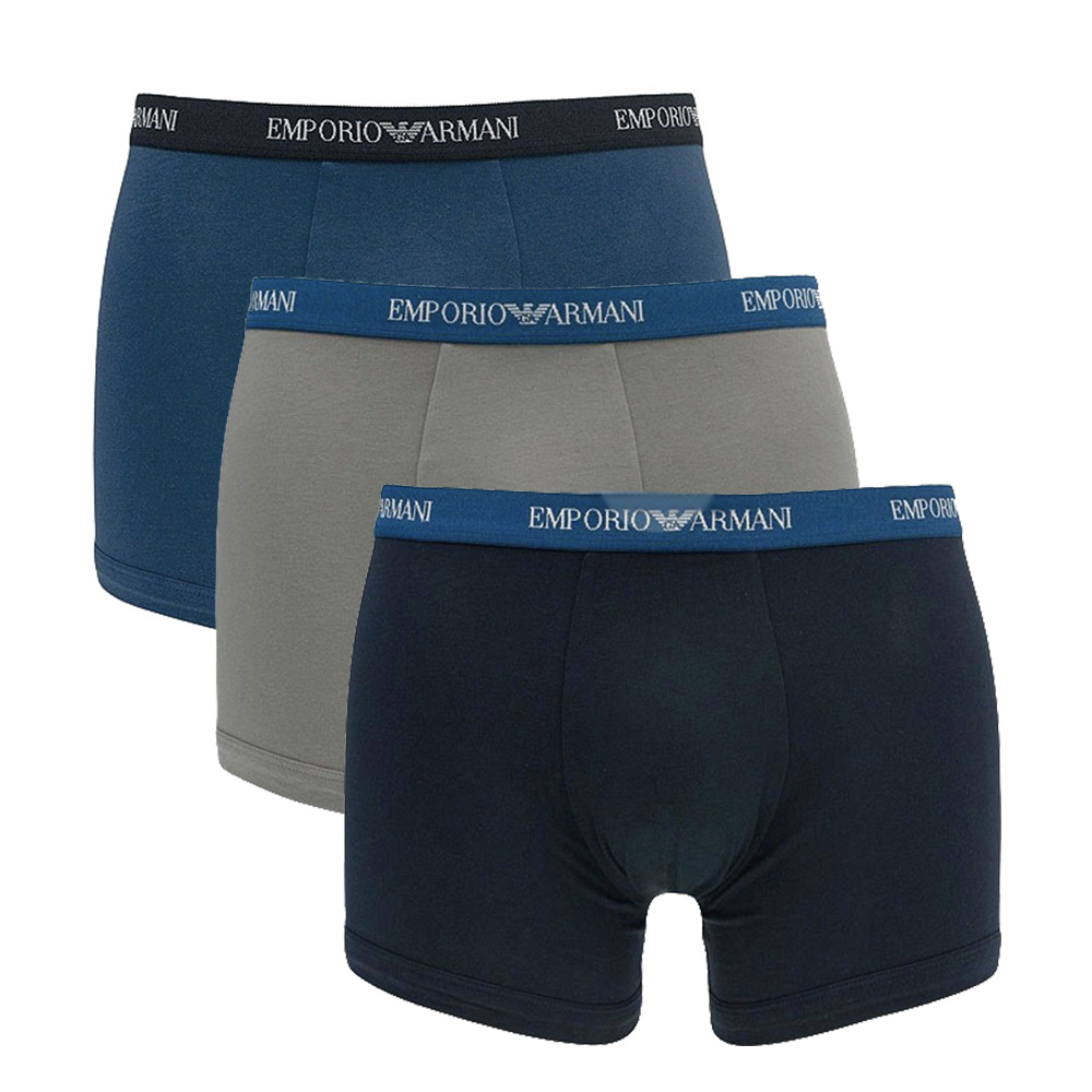 Image of   Emporio Armani 3-Pack Boxers (Marine/Grå/Blå)