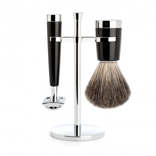 Image of   Mühle Barbersett Liscio (DE-Barberhøvel, Pure Badger Barberkost og Krom Holder)