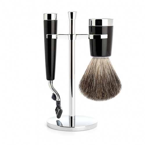 Image of   Mühle Barbersett Liscio (Mach3 barberhøvel, Pure Badger Barberkost og Krom Holder)