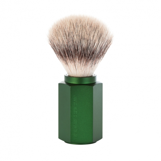 Image of   Mühle x Mark Braun Hexagon Silvertip Fiber® Barberkost, Aluminium Forest (21 mm)
