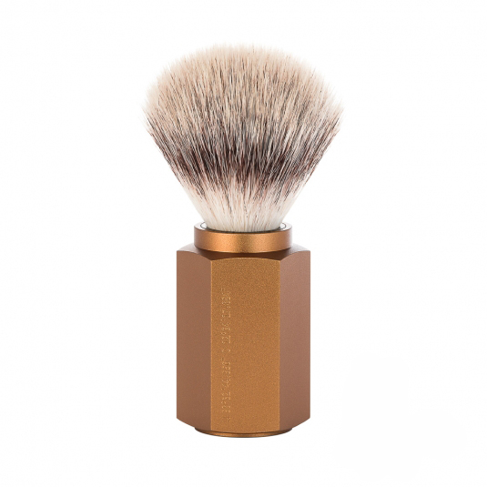 Image of   Mühle x Mark Braun Hexagon Silvertip Fiber® Barberkost, Aluminium Bronze (21 mm)