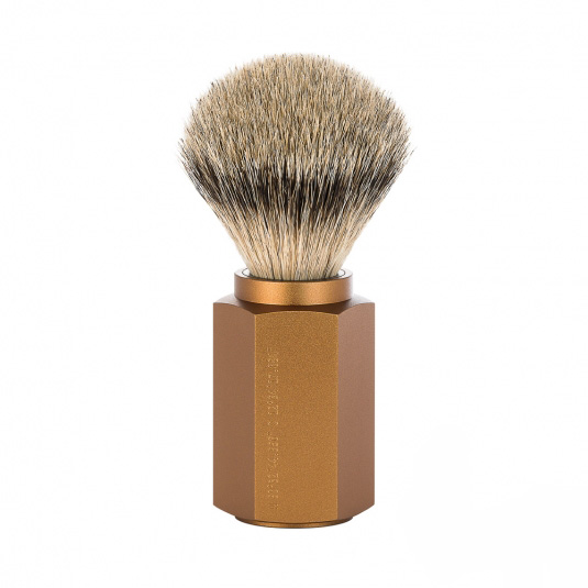 Image of   Mühle x Mark Braun Hexagon Silvertip Badger Barberkost, Aluminium Bronze (21 mm)