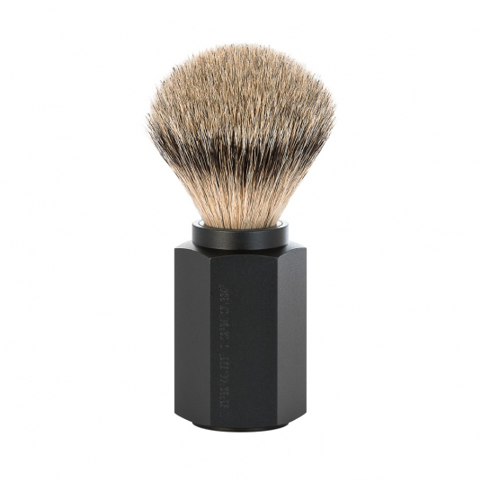 Image of   Mühle x Mark Braun Hexagon Silvertip Badger Barberkost, Aluminium Graphite (21 mm)