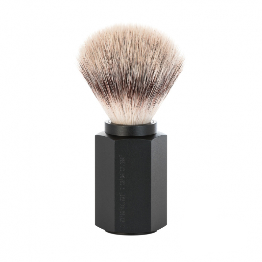 Image of   Mühle x Mark Braun Hexagon Silvertip Fiber® Barberkost, Aluminium Graphite (21 mm)