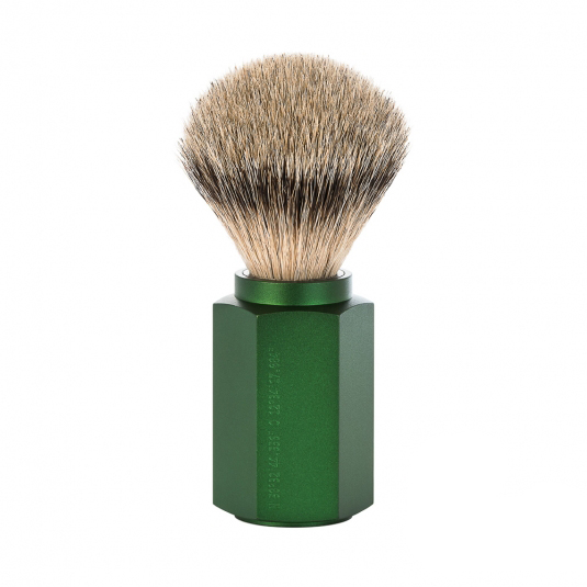 Image of   Mühle x Mark Braun Hexagon Silvertip Badger Barberkost, Aluminium Forest (21 mm)