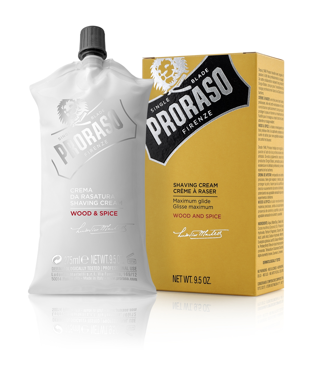 Image of   Proraso Barberkrem, Wood & Spice (275 ml)